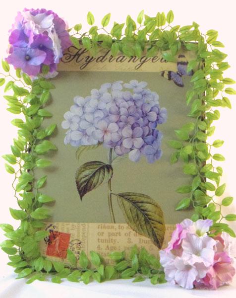 画像1: 紫陽花のアートフラワーフレーム・tinプレート (1)