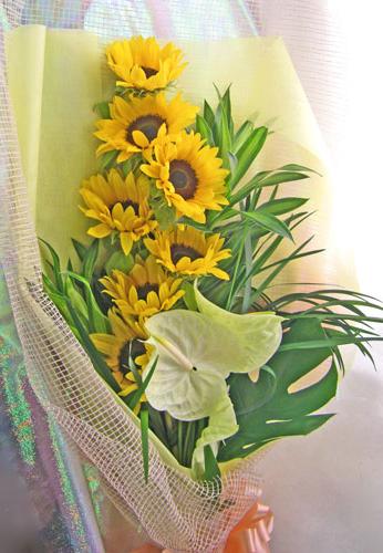 画像1: ひまわりとアンスリウムの花束 (1)