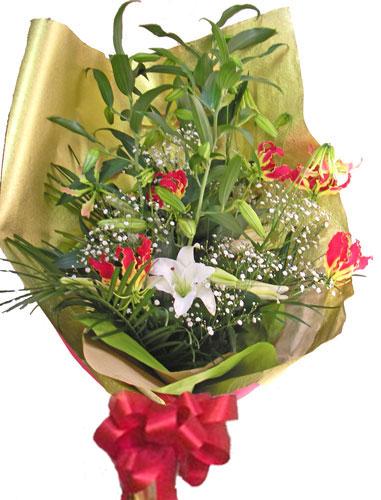 画像1: カサブランカとグロリオーサリリーの花束 (1)