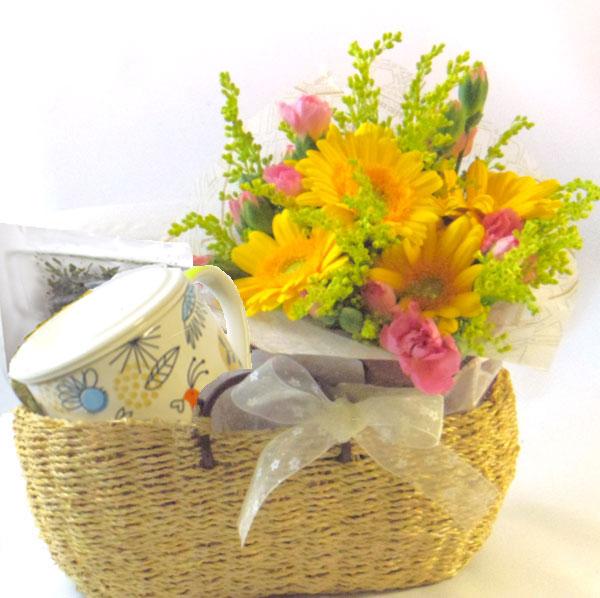 画像1: ミントのティータイムと花束のギフトセット (1)