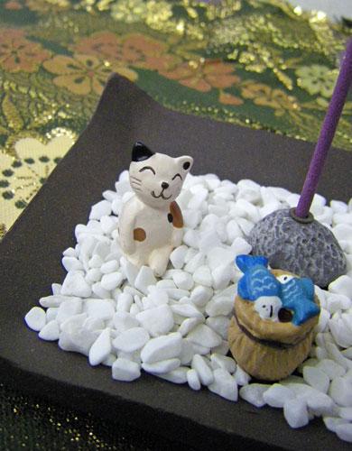 画像1: ミニチュア石庭風・お香立て (1)